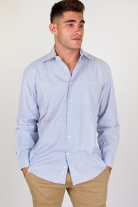 Corneliani Light Blue Cotton Plaid Shirt